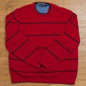 Nautica Black Striped Red Sweater